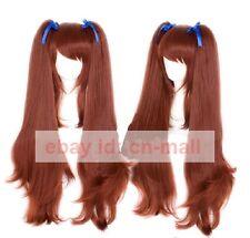 Another Akazawa Izumi Anime Long Dark Brown Cosplay costume Wig+  ponytail
