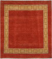2.5X4 Hand-Knotted Gabbeh Carpet Modern Rust Fine Wool Accent Rug C2186