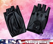 New Fingerless Circle Biker Punk Goth Driving Womens Faux Leather Gloves