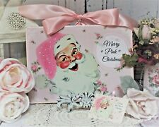 "Shabby Chic Vintage Polka Dot style Wall Decor Sign ""Merry Pink Christmas..."""