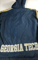 Georgia Tech Windbreaker Jacket Mens SZ M/L Yellow Jackets Lined Alumni GT Hood