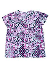 Womens Fashion Medical Nursing Scrub Print Tops Purple Black Dots Flower M