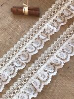 Cream Gathered Lace Double with Eyelet 2.5 inch/6.5 cm