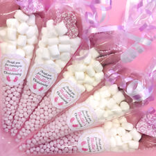 Pre-filled Personalised PINK CHRISTENING Sweet Cones BABY FEET STICKER