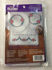 Bucilla Special Ed. 65350 Hearts & Flowers Dresser Scarf  Doily Set Embroidery