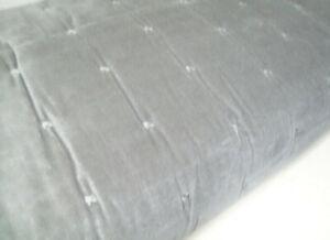 Pottery Barn Muted Gray Color Velvet Tufted Frayed Edge Full Queen Quilt New
