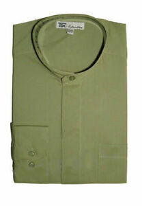 Mens' Mandarin Collar (Banded Collar) Dress Shirt by TDC Collection