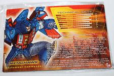 Transformers Botcon 2012 Metalhawk Tech Spec & Instructions Bio Card