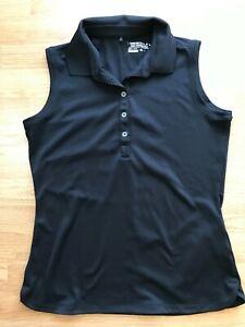 Nike Golf Tour Performance Dri-Fit Womens Sleeveless Polo Shirt Size M Black
