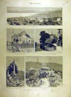 Original Old Antique Print 1887 Queen Visit Cannes France Edeweiss Villa 19th