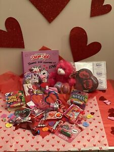 75pcs Children's Valentines Day Gift Basket For Girls Filled w/ Candy Toys Books