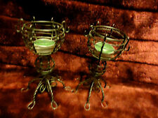 "PAIR OF WIRE VOTIVE CANDELE HOLDERS....NICE DESIGNS....6 1/2"" TALL"