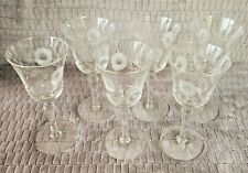 SIX BEAUTIFUL VINTAGE CRYSTAL FLOWER ETCHED, WINE, COCKTAIL STEMWARE - 6 OUNCE