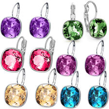 Women Round Large LEVER BACK Bella Earrings made with crystal