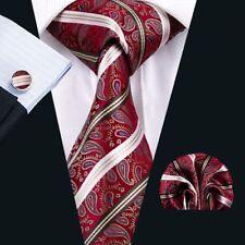Rot Weiß Paisley Seide Krawatte Set Einstecktuch Knöpfe Breit Hochzeit K333