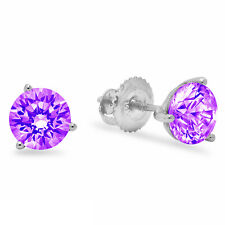 1.50ct Round Cut Natural Amethyst Stud Martini Earrings Real 14k White Gold