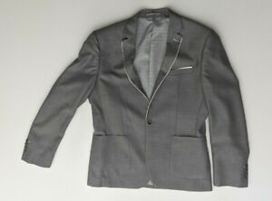 Shoreditch Grey Slim Fit Single Breasted Suit Jacket Pockets Wool Blend Size 42