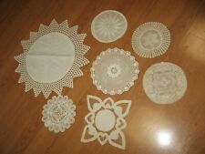 7 vintage crochet crocheted doilies cream / off white