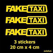 x3 FAKE TAXI car van window vinyl stickers slammed euro drift funny decals  20x4