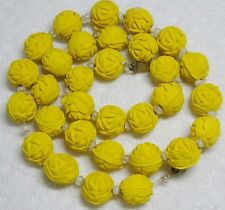 "Vintage Sunny YELLOW Color Carved Wood 11mm ROSE SHAPE Bead Necklace 18""~AS IS~"