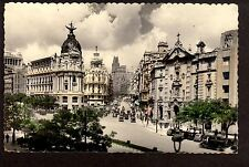 c1940 tinted photo street scene Madrid Spain Franco stamp postcard