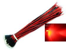 50x Prewired 3mm Rosso Lampada Luce LED Set 20cm pre CABLATA 12 V CC