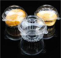 50/100 Single Cupcake Case Muffin Pods Dome Clear Plastic Holder Cup Cake Box LS