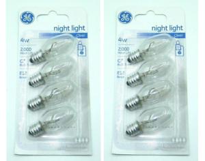 GE 4w Night Lights ** 8 Bulbs ** Appliance 20572 - C7 / E12 - Clear 73257