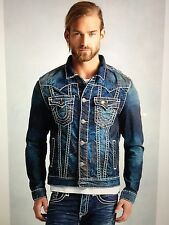 TRUE RELIGION MEN JIMMY SUPER-T DENIM JACKET DRY BRUSH MR62NTW9 NWT 3XL $369