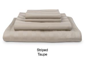 My Pillow Giza Dreams King Sheet Set, Striped Taupe, 100% Giza Cotton