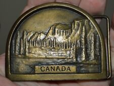Vintage 1976 CANADA Forest Mountains Brass Tone Heavy Belt Buckle Rare