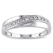 0.10 Ct Diamond Men's Wedding Certified Ring Band 14K White Gold L M N