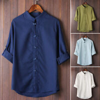 Mens Chinese Style Kung Fu Shirt Tops 3/4 Sleeve Standing Collar Blouse L~3XL