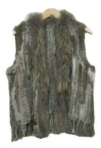 Raccoon Rabbit Hair Fur Waistcoat Vest   Womens Brown Grey Festival Vest Size S