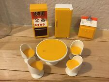 Vintage Fisher Price Dollhouse 1977  Kitchen Table 4 chairs Fridge Stove Sink
