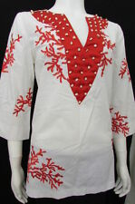 Ts Dixin Women White Cotton Shirt India Fashion Red Deep V-Neck Blouse Medium