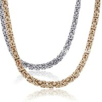 6/8mm Hot Men stainless steel Gold Silver Tone Byzantine Antiqued necklace chain