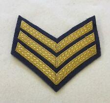 RAF Sergeant Chevron, 3 Bar Rank Badge, Mess Dress, RAF Blue, Tapes, Gold & Blue