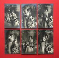 6 x Foto AK Kpl. Serie 1911 An der Weser Frau Dame mit Mandoline Laute  ( 45353