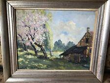 J.Coulange Printemps en Alsace Joli Tableau Impressionniste 38x41 cm vers 1920