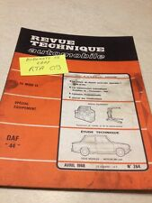 Revue Technique Automobile DAF 44 , étude Variomatic édition 68