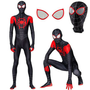 Spider Hero Into The Spider-Verse Miles Morales Zentai Cosplay Costume Jumpsuit