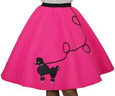 """4-Pcs NEON PINK FELT Poodle Skirt Adult Size Plus XL/3X -Waist 40""""-48"""" - L25"""""""