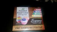 Supreme Tradition Food color &egg dye 4 vials .3oz each-red, blue, green, yellow