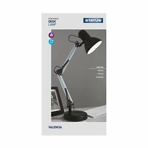 BLACK STATUS VALENCIA ANGLED METAL DESK LAMP ADJUSTABLE HEAD & ARM HOME/OFFICE