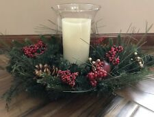 QVC BETHLEHEM LIGHTS CENTERPIECE W/GLASS HURRICANE Flameless Candle