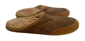 LL Bean Mens Slippers Sz 11 Brown Suede Shearling Lined Slides Open Back