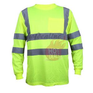 Work Safety Hi Vis Long Sleeve High Visibility Green/Orange Reflective Stripe