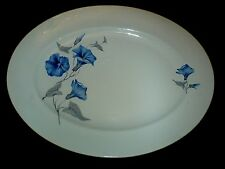 PALISSY MORNING GLORY Blue Flower 14 inch Oval Serving Platter/Plate c1950