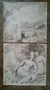Pen and Ink Drawing Painting,Harold Hope Read,Nudes+Society Crowd,unframed.(2).